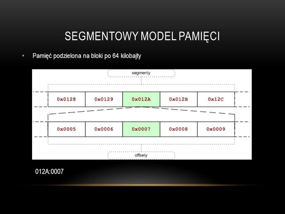 SEGMENTOWY MODEL PAMIĘCI Pamięć podzielona na bloki po 64 kilobajty 012A:0007