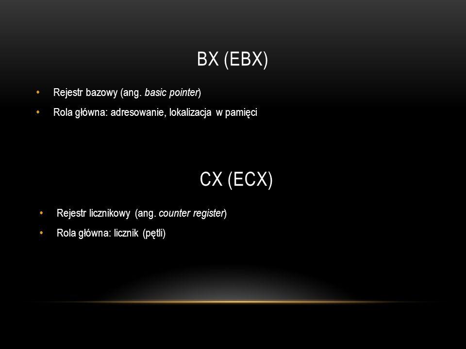 BX (EBX) Rejestr bazowy (ang. basic pointer ) Rola główna: adresowanie, lokalizacja w pamięci CX (ECX) Rejestr licznikowy (ang. counter register ) Rol