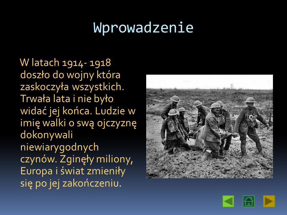 Wprowadzenie W latach 1914- 1918 doszło do wojny która zaskoczyła wszystkich.