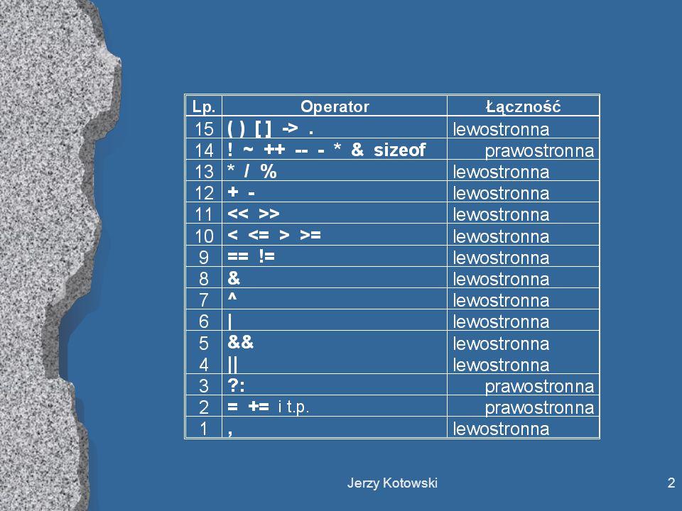 Jerzy Kotowski13 SERIA KOŃCZĄCA (zwalająca z nóg) l y = 2; z = 3; x = 2 + y == 1 + z; Jaka będzie wartość zmiennej x.