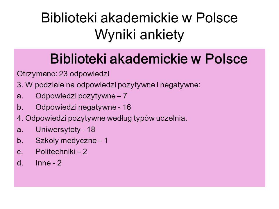Biblioteki akademickie w Polsce Wyniki ankiety Biblioteki akademickie w Polsce Otrzymano: 23 odpowiedzi 3. W podziale na odpowiedzi pozytywne i negaty