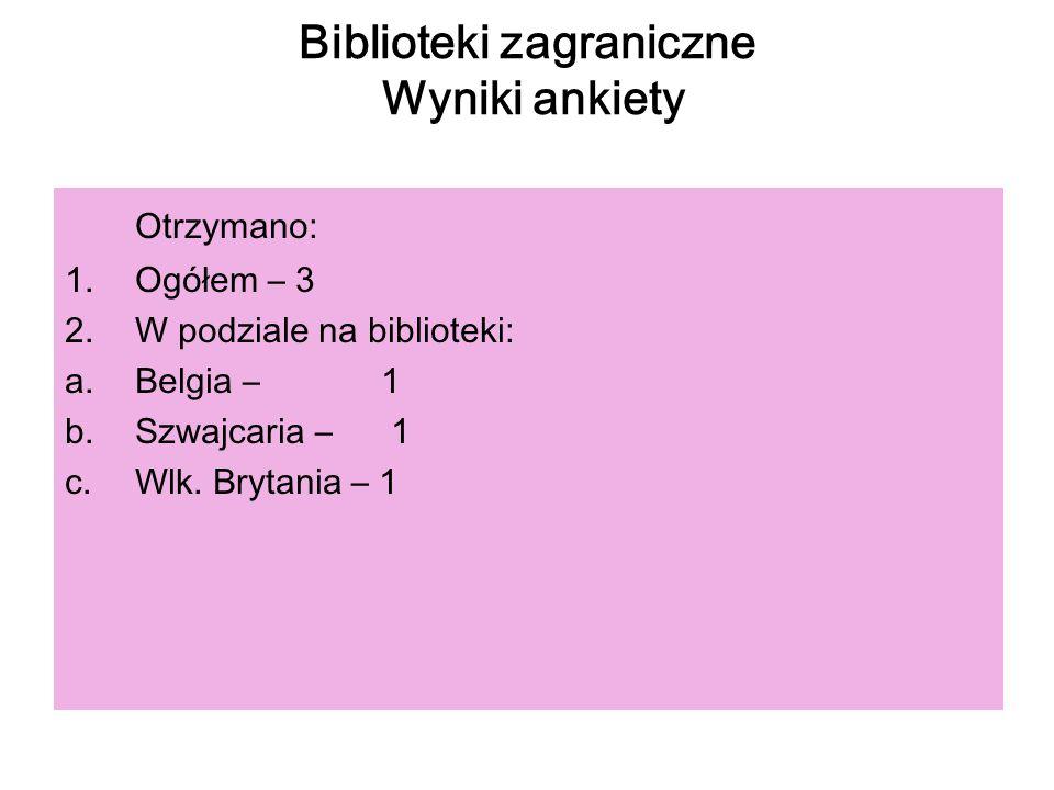 Biblioteki zagraniczne Wyniki ankiety Otrzymano: 1.Ogółem – 3 2.W podziale na biblioteki: a.Belgia – 1 b.Szwajcaria – 1 c.Wlk. Brytania – 1