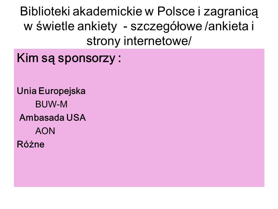 Biblioteki akademickie w Polsce i zagranicą w świetle ankiety - szczegółowe /ankieta i strony internetowe/ Kim są sponsorzy : Unia Europejska BUW-M Am