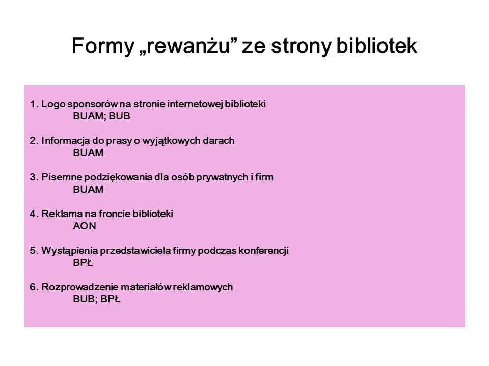 Formy rewanżu ze strony bibliotek 1. Logo sponsorów na stronie internetowej biblioteki BUAM; BUB 2. Informacja do prasy o wyjątkowych darach BUAM 3. P