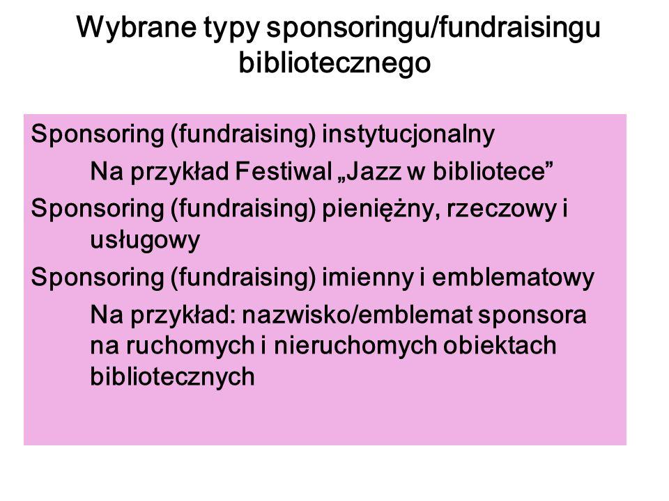 Wybrane typy sponsoringu/fundraisingu bibliotecznego Sponsoring (fundraising) instytucjonalny Na przykład Festiwal Jazz w bibliotece Sponsoring (fundr