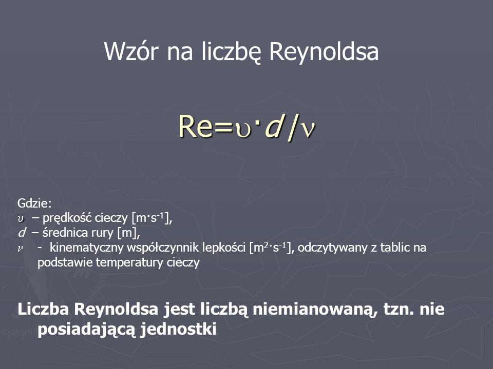 Re= ·d / Re= ·d / Wzór na liczbę Reynoldsa Gdzie: – prędkość cieczy [m·s -1 ], d – średnica rury [m], - kinematyczny współczynnik lepkości [m 2 ·s -1