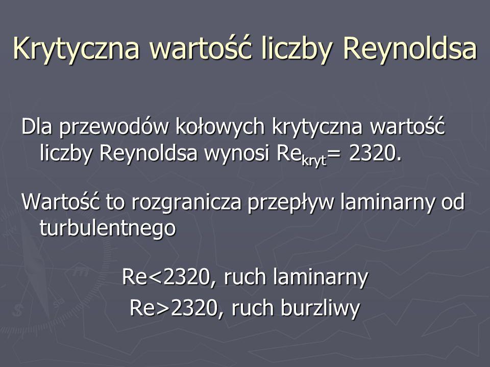 Krytyczna wartość liczby Reynoldsa Dla przewodów kołowych krytyczna wartość liczby Reynoldsa wynosi Re kryt = 2320. Wartość to rozgranicza przepływ la