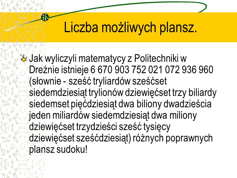 Mistrzostwa sudoku. Pierwsze mistrzostwa Polski w sudoku zostały zorganizowane przez tygodnik Polityka w 2005 roku. Zwycięzcą został Michał Karwański,