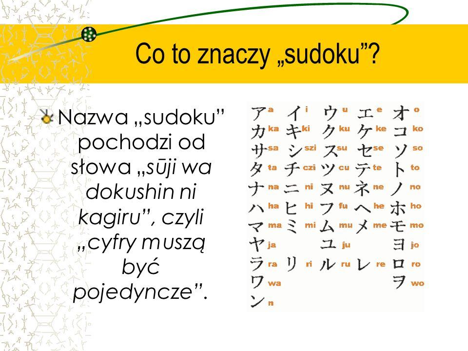 Czym jest sudoku? Sudoku – to łamigłówka, której celem jest wypełnienie diagramu. W każdej kolumnie, w każdym wierszu i w każdym dziewięciopolowym kwa