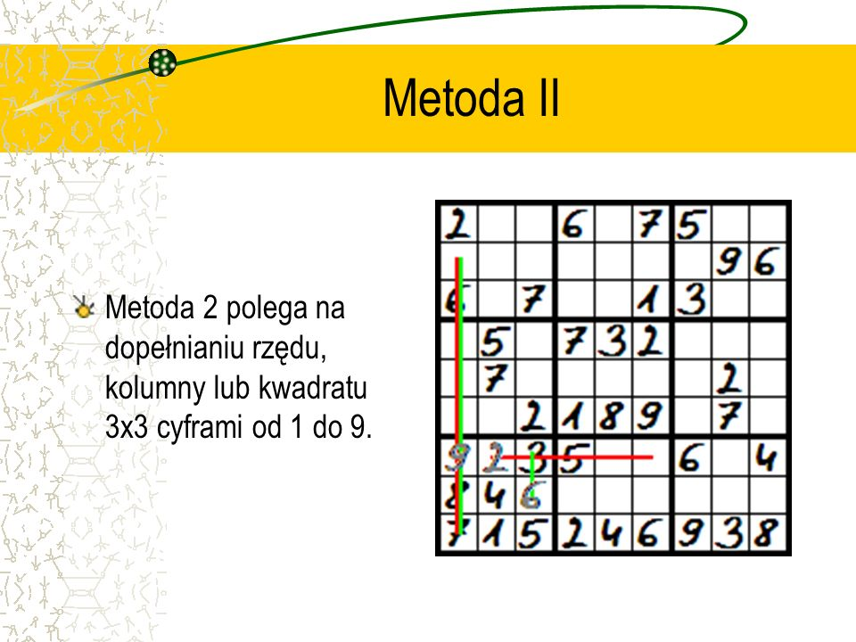 Metoda I Metoda 1 polega na znajdowaniu miejsca, gdzie w obrębie małego kwadratu 3x3 pasuje dana cyfra na zasadzie eliminacji rzędów i kolumn, w który