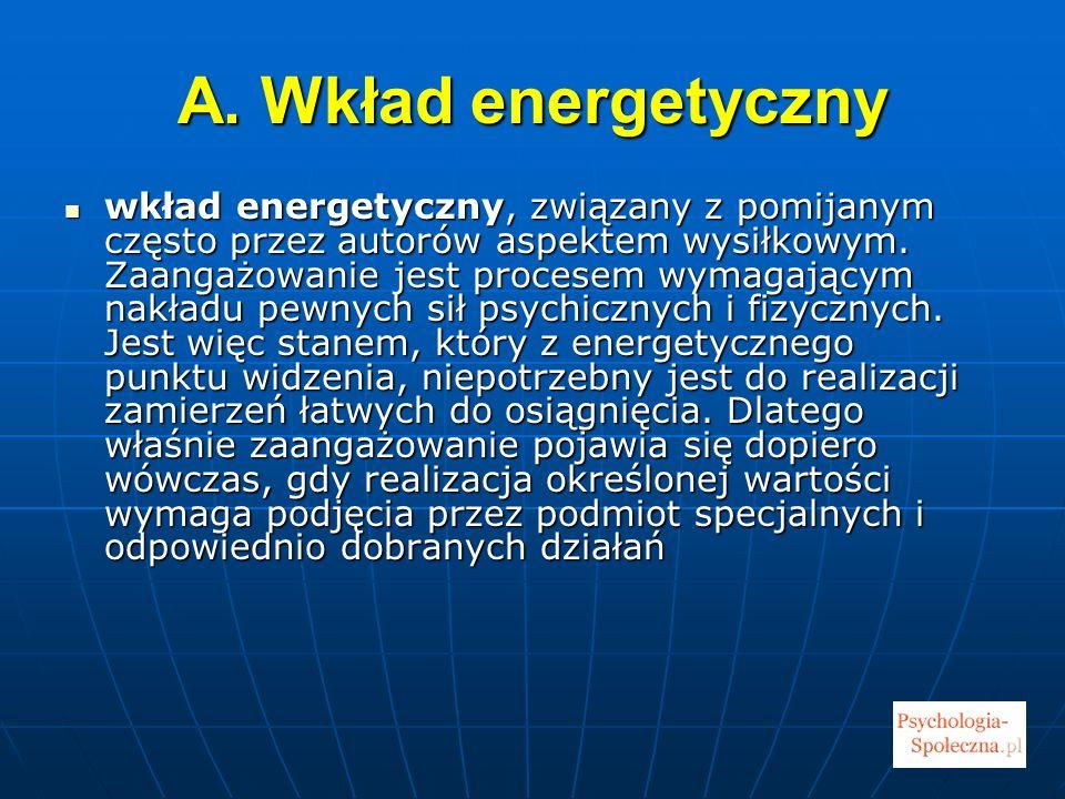 A. Wkład energetyczny wkład energetyczny, związany z pomijanym często przez autorów aspektem wysiłkowym. Zaangażowanie jest procesem wymagającym nakła