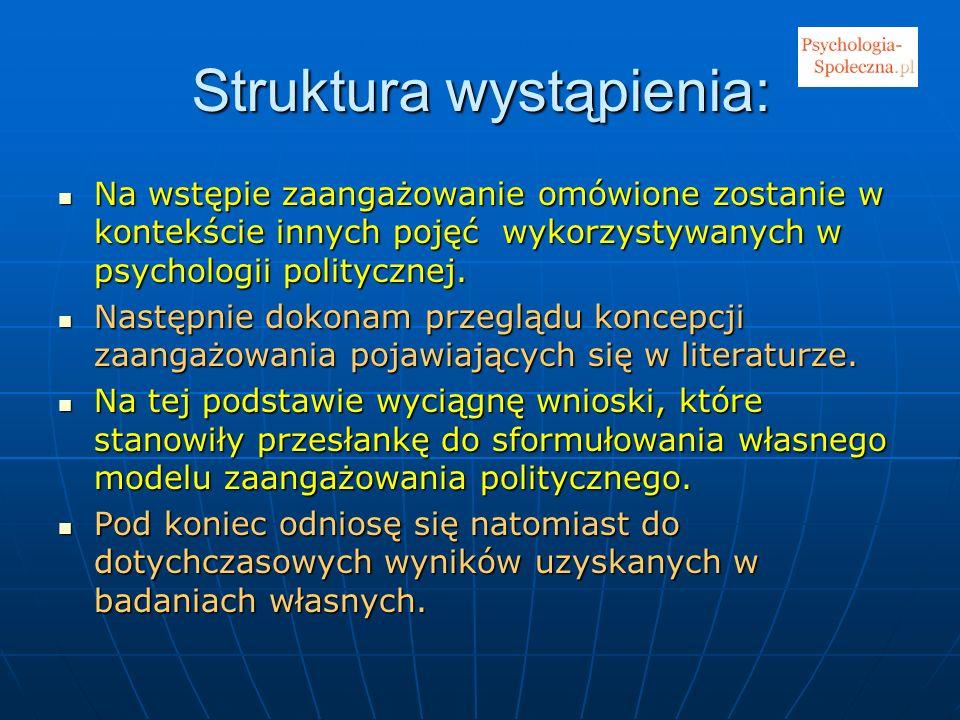 Struktura wystąpienia: Na wstępie zaangażowanie omówione zostanie w kontekście innych pojęć wykorzystywanych w psychologii politycznej. Na wstępie zaa