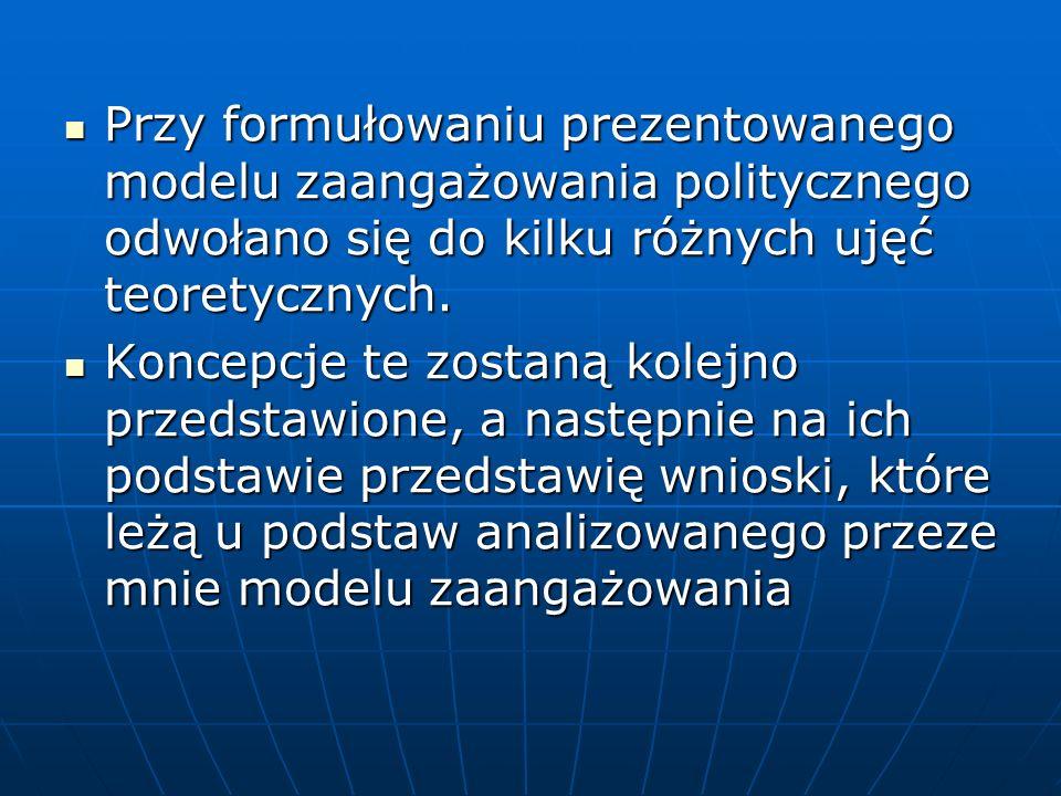 Przy formułowaniu prezentowanego modelu zaangażowania politycznego odwołano się do kilku różnych ujęć teoretycznych. Przy formułowaniu prezentowanego