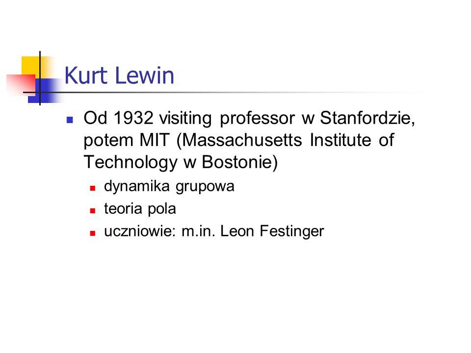 Kurt Lewin Od 1932 visiting professor w Stanfordzie, potem MIT (Massachusetts Institute of Technology w Bostonie) dynamika grupowa teoria pola uczniowie: m.in.