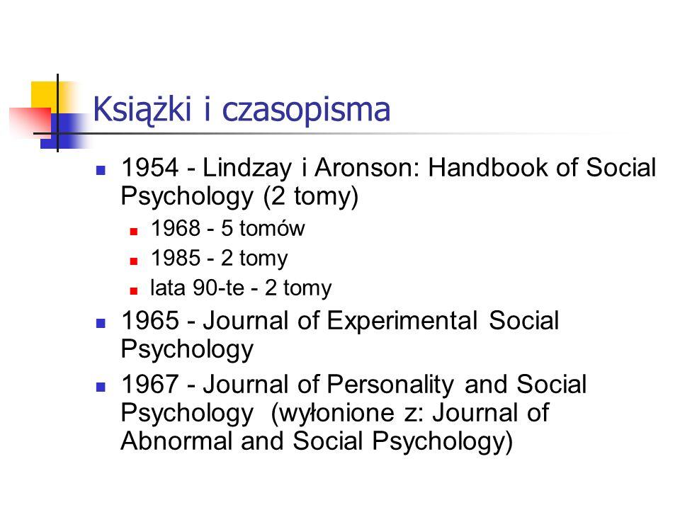 Książki i czasopisma 1954 - Lindzay i Aronson: Handbook of Social Psychology (2 tomy) 1968 - 5 tomów 1985 - 2 tomy lata 90-te - 2 tomy 1965 - Journal of Experimental Social Psychology 1967 - Journal of Personality and Social Psychology (wyłonione z: Journal of Abnormal and Social Psychology)