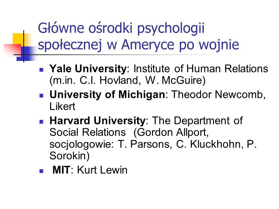 Główne ośrodki psychologii społecznej w Ameryce po wojnie Yale University: Institute of Human Relations (m.in.