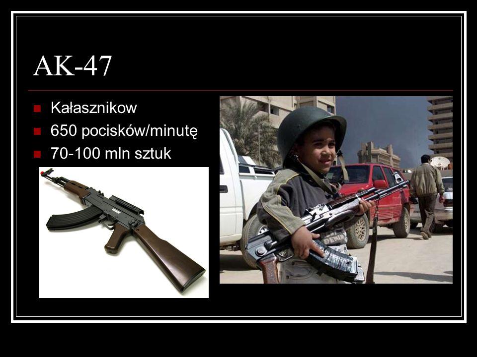 AK-47 Kałasznikow 650 pocisków/minutę 70-100 mln sztuk