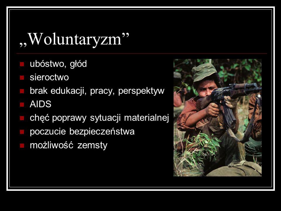 Woluntaryzm ubóstwo, głód sieroctwo brak edukacji, pracy, perspektyw AIDS chęć poprawy sytuacji materialnej poczucie bezpieczeństwa możliwość zemsty