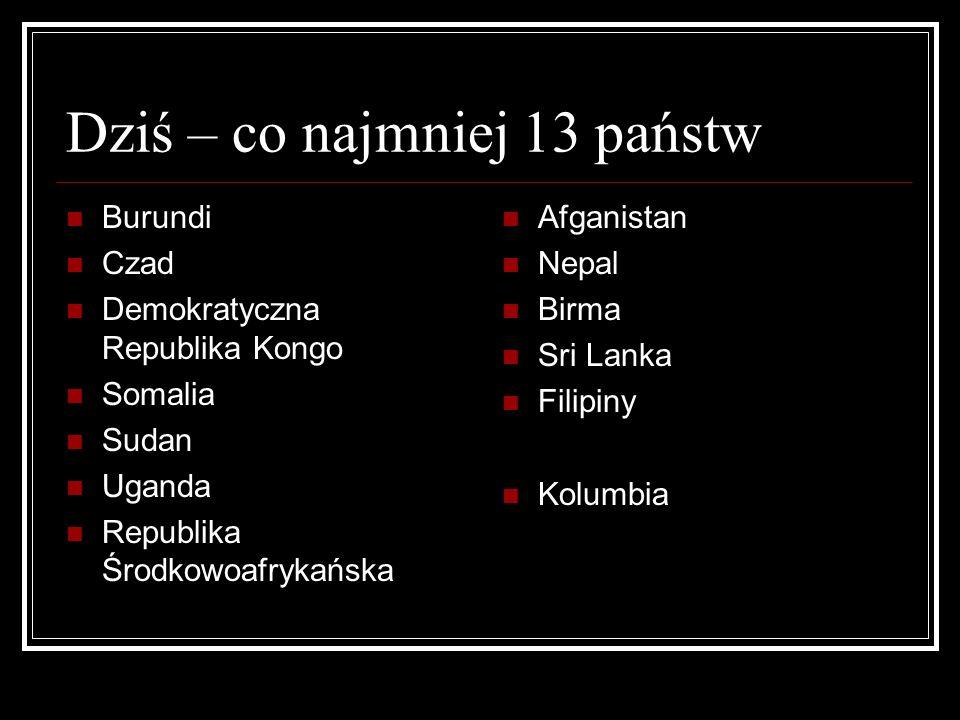 Dziś – co najmniej 13 państw Burundi Czad Demokratyczna Republika Kongo Somalia Sudan Uganda Republika Środkowoafrykańska Afganistan Nepal Birma Sri L