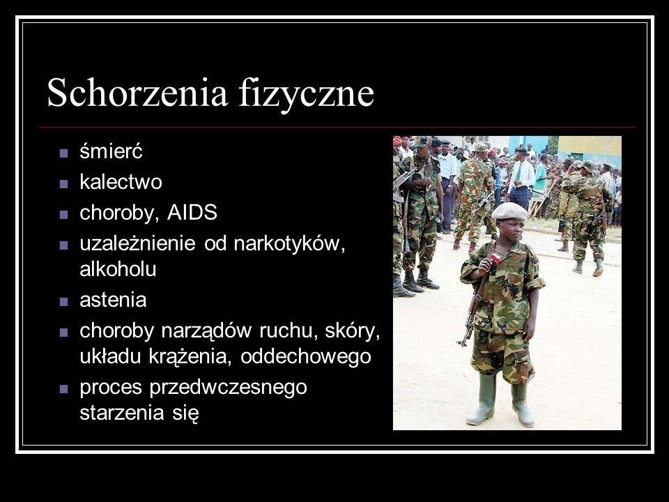 Schorzenia fizyczne śmierć kalectwo choroby, AIDS uzależnienie od narkotyków, alkoholu astenia choroby narządów ruchu, skóry, układu krążenia, oddecho