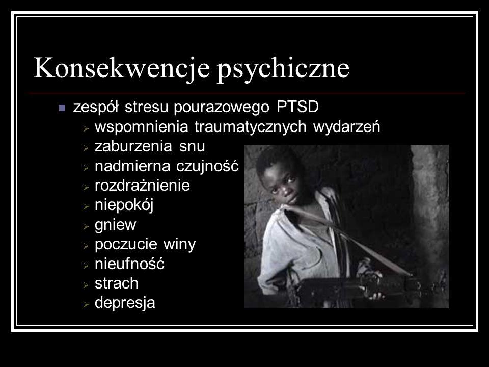 Konsekwencje psychiczne zespół stresu pourazowego PTSD wspomnienia traumatycznych wydarzeń zaburzenia snu nadmierna czujność rozdrażnienie niepokój gn