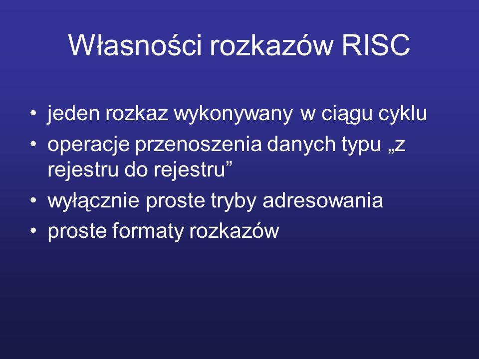 Własności rozkazów RISC jeden rozkaz wykonywany w ciągu cyklu operacje przenoszenia danych typu z rejestru do rejestru wyłącznie proste tryby adresowania proste formaty rozkazów