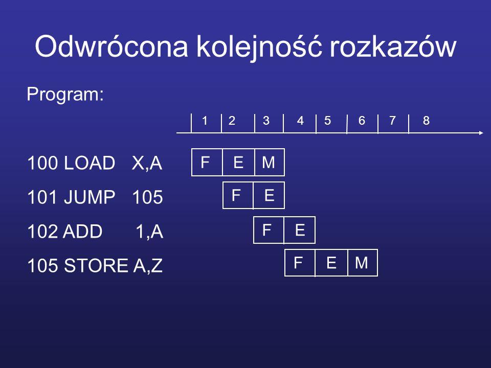 Odwrócona kolejność rozkazów Program: 100 LOAD X,A 101 JUMP 105 102 ADD 1,A 105 STORE A,Z F E M F E F E M 1 2 3 4 5 6 7 8