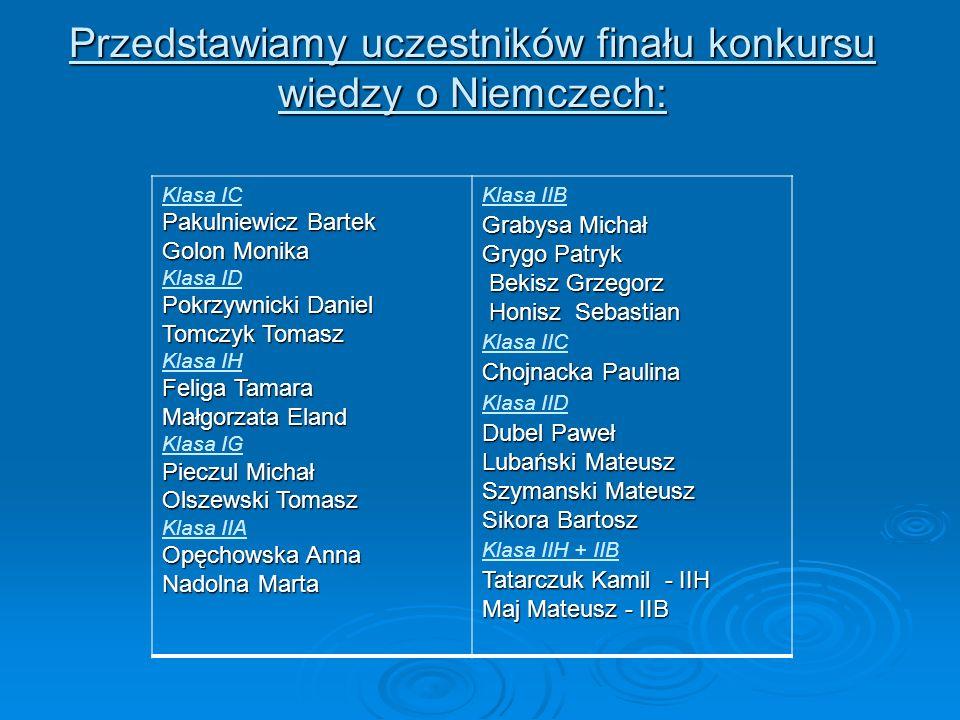 Przedstawiamy uczestników finału konkursu wiedzy o Niemczech: Pakulniewicz Bartek Golon Monika Klasa IC Pakulniewicz Bartek Golon Monika Pokrzywnicki