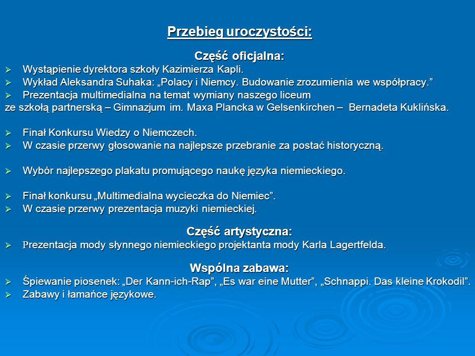 Przebieg uroczystości: Część oficjalna: Wystąpienie dyrektora szkoły Kazimierza Kapli.