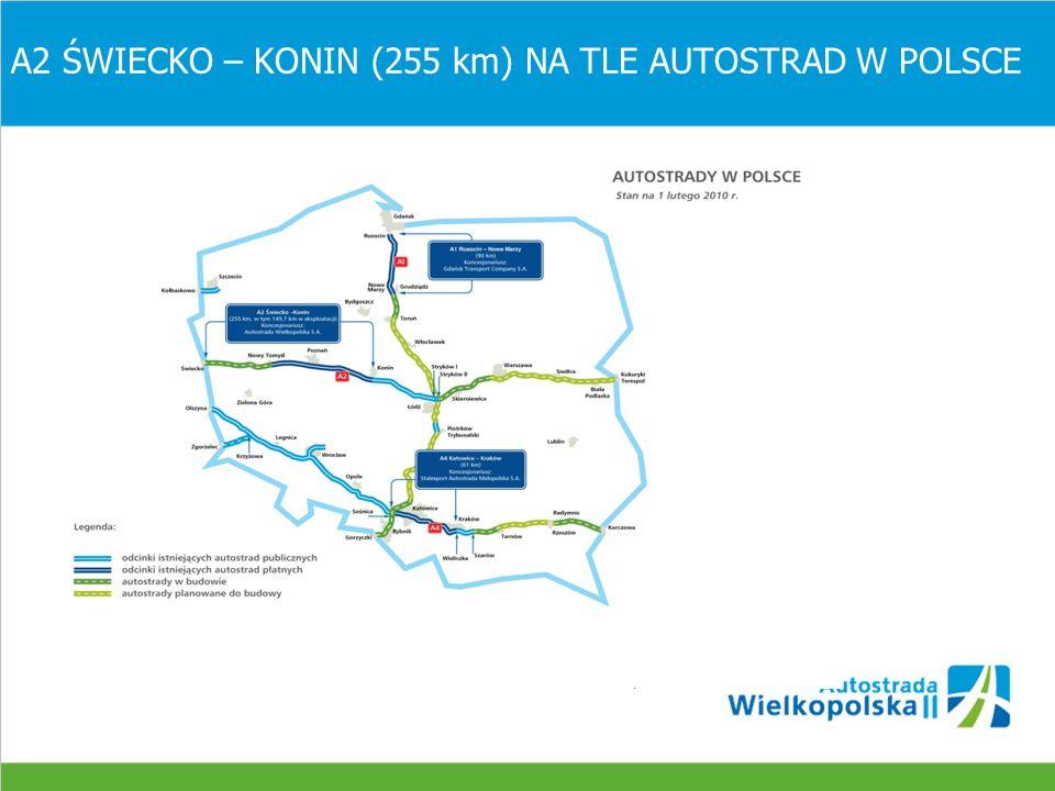 A2 ŚWIECKO – NOWY TOMYŚL (105,9 km) OCHRONA ŚRODOWISKA 1.Autostrada A2 na odcinku Świecko – Nowy Tomyśl w 85% biegnie przez obszary leśne 2.W bezpośredniej bliskości trasy autostrady znajduje się duża ilość siedlisk i obszarów Natura 2000 3.Konieczność sporządzenia dodatkowych Raportów o Oddziaływaniu Autostrady na Środowisko dla projektów budowlanych 4.Uzyskanie wymaganych decyzji administracyjnych 5.Stworzenie tzw.