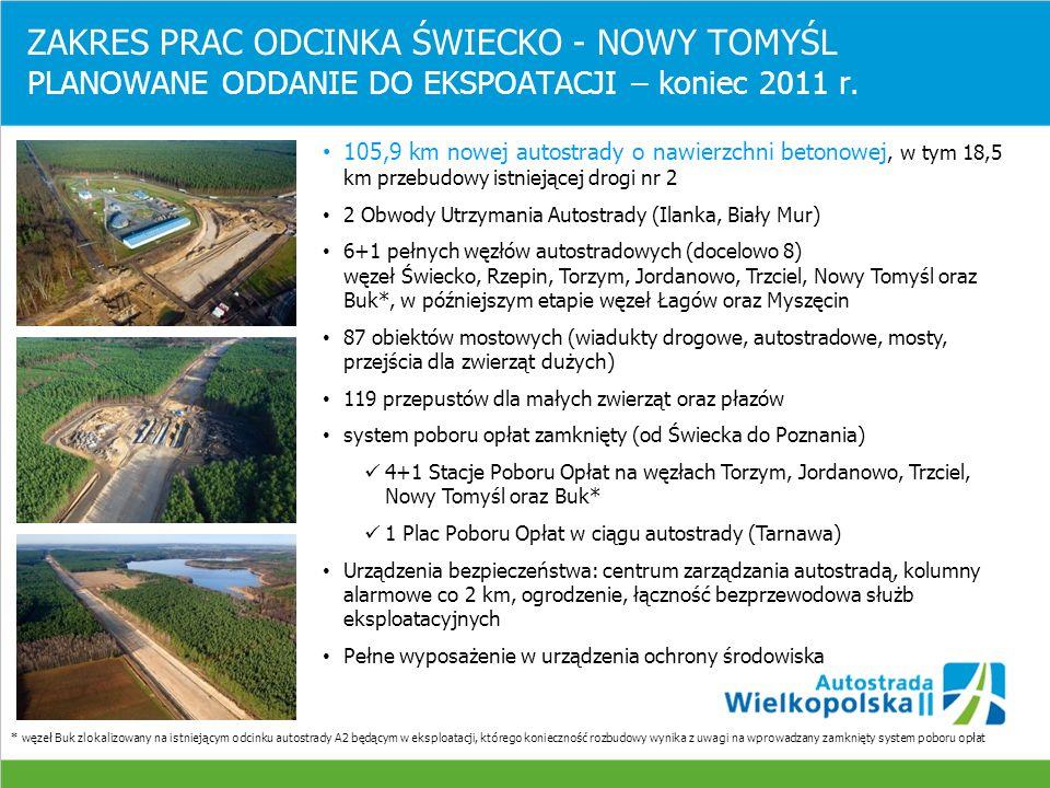 ZAKRES PRAC ODCINKA A2 ŚWIECKO – NOWY TOMYŚL 6 Miejsc Obsługi Podróżnych (docelowo 10) wyposażonych w parkingi, toalety, place zabaw dla dzieci, stacje benzynowe, gastronomię MOP II Gnilec / MOP II Sosna (ze stacją paliw oraz barem) MOP I Koryta / MOP I Walewice MOP II Rogoziniec / MOP II Chociszewo (ze stacją paliw oraz barem) oraz docelowo MOP I Długie / MOP I Zapadle MOP I Zagaje / MOP I Romanówek * MOP I - parking, toalety, plac zabaw, mała gastronomia ** MOP II -parking, toaleta, plac zabaw, gastronomia, stacja paliw