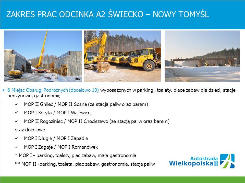 ODCINEK A2 ŚWIECKO – NOWY TOMYŚL (105,9 km) STAN ZAAWANSOWANIA PRAC BUDOWLANYCH, koniec kwietnia 2010 Roboty ziemne: nasypywykonano 31,14 % wykopywykonano 35,74 % Podbudowa z chudego betonu Wykonano 5,5 %, Wykonawca układa ok.