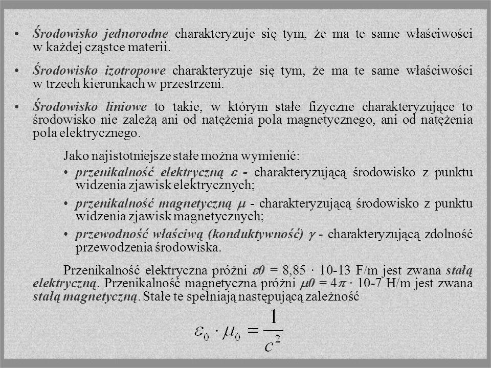 Środowisko jednorodne charakteryzuje się tym, że ma te same właściwości w każdej cząstce materii. Środowisko izotropowe charakteryzuje się tym, że ma