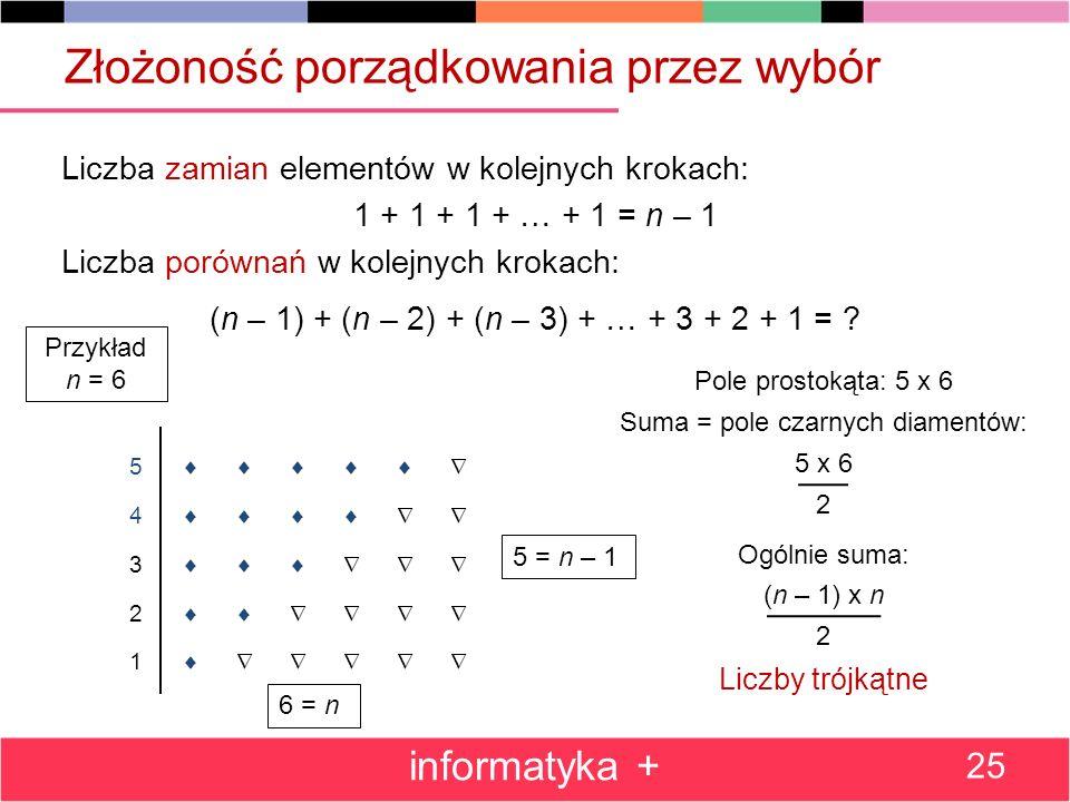 Złożoność porządkowania przez wybór Liczba zamian elementów w kolejnych krokach: 1 + 1 + 1 + … + 1 = n – 1 Liczba porównań w kolejnych krokach: (n – 1