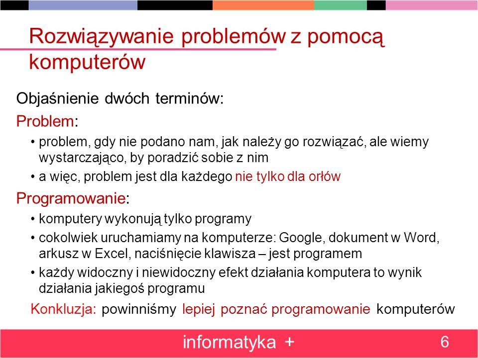 Rozwiązywanie problemów z pomocą komputerów Objaśnienie dwóch terminów: Problem: problem, gdy nie podano nam, jak należy go rozwiązać, ale wiemy wysta