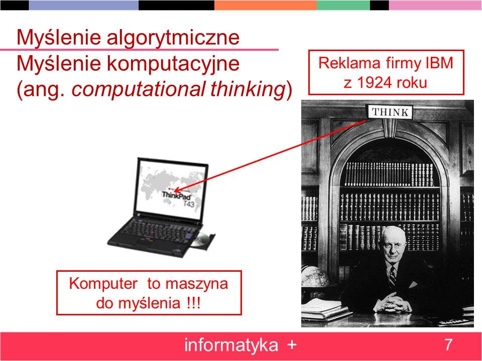 Problemy, algorytmy i ich komputerowe realizacje (implementacje) Plan: Pierwszy algorytm – przeszukiwanie zbioru schematy blokowe algorytm optymalny Kompletowanie podium zwycięzców turnieju Jednoczesne znajdowanie najmniejszego i największego elementu zasada dziel i zwyciężaj Porządkowanie przez wybór – iteracja algorytmu Poszukiwanie informacji: w zbiorze nieuporządkowanym w zbiorze uporządkowanym informatyka + 8