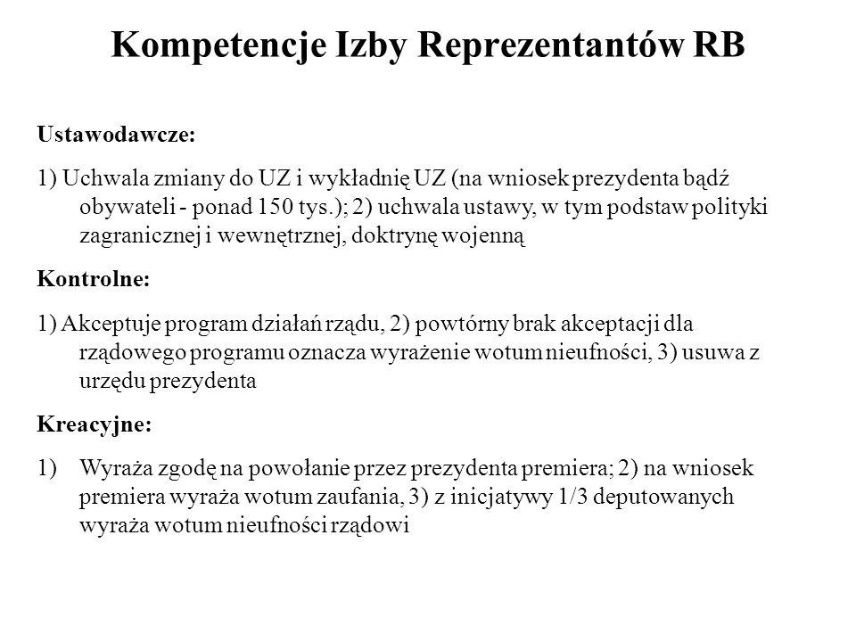 Kompetencje Izby Reprezentantów RB Ustawodawcze: 1) Uchwala zmiany do UZ i wykładnię UZ (na wniosek prezydenta bądź obywateli - ponad 150 tys.); 2) uc