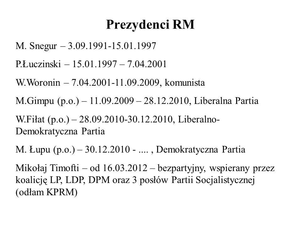 Prezydenci RM M. Snegur – 3.09.1991-15.01.1997 P.Łuczinski – 15.01.1997 – 7.04.2001 W.Woronin – 7.04.2001-11.09.2009, komunista M.Gimpu (p.o.) – 11.09