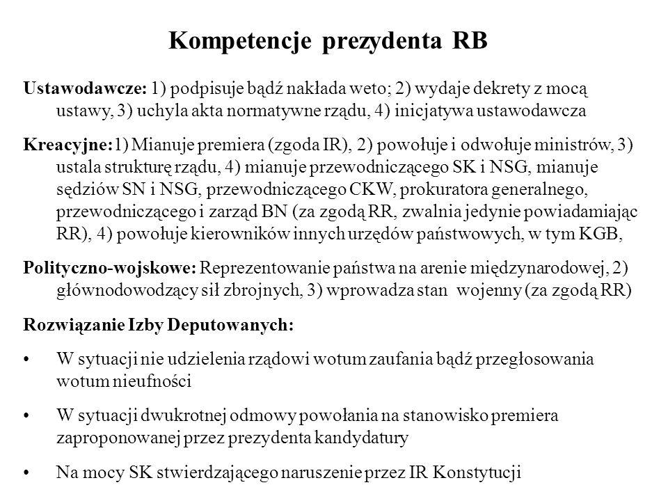 Kompetencje prezydenta RB Ustawodawcze: 1) podpisuje bądź nakłada weto; 2) wydaje dekrety z mocą ustawy, 3) uchyla akta normatywne rządu, 4) inicjatyw