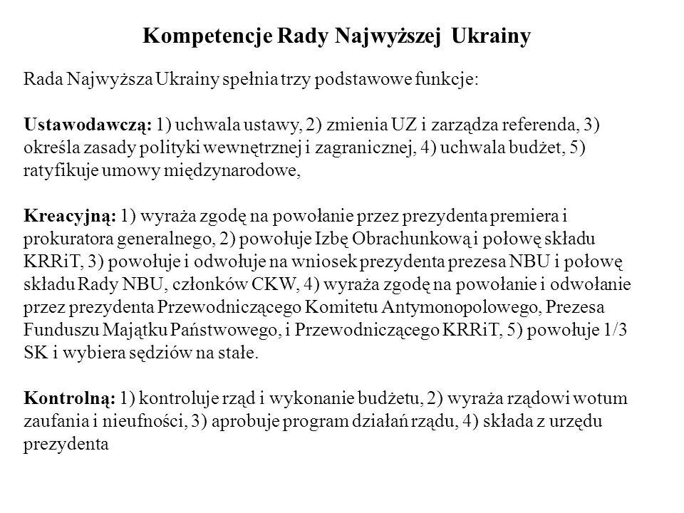 Kompetencje Rady Najwyższej Ukrainy Rada Najwyższa Ukrainy spełnia trzy podstawowe funkcje: Ustawodawczą: 1) uchwala ustawy, 2) zmienia UZ i zarządza