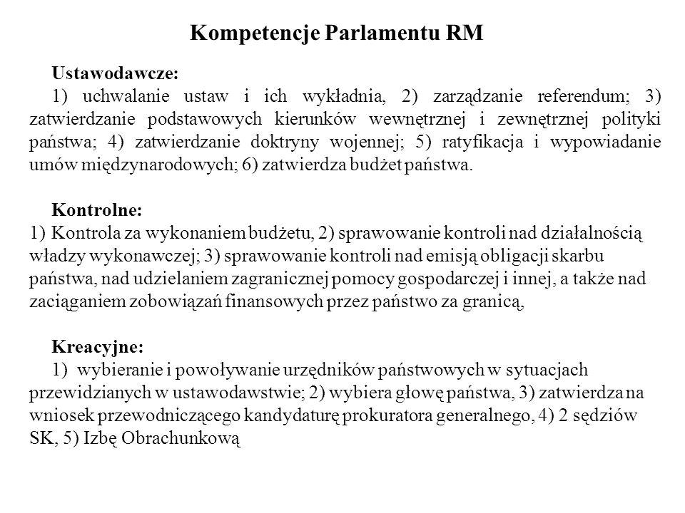 Kompetencje Parlamentu RM Ustawodawcze: 1) uchwalanie ustaw i ich wykładnia, 2) zarządzanie referendum; 3) zatwierdzanie podstawowych kierunków wewnęt