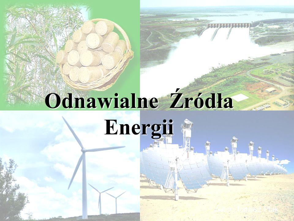 Odnawialne źródła energii OZE – to źródła wykorzystujące w procesie przetwarzania energię wiatru, promieniowania słonecznego, geotermalną, fal, prądów i pływów morskich, spadku rzek oraz energię pozyskiwaną z biomasy, biogazu wysypiskowego, a także z biogazu powstałego w procesach odprowadzania lub oczyszczania ścieków albo rozkładu składowanych szczątek roślinnych i zwierzęcych OZE – to źródła wykorzystujące w procesie przetwarzania energię wiatru, promieniowania słonecznego, geotermalną, fal, prądów i pływów morskich, spadku rzek oraz energię pozyskiwaną z biomasy, biogazu wysypiskowego, a także z biogazu powstałego w procesach odprowadzania lub oczyszczania ścieków albo rozkładu składowanych szczątek roślinnych i zwierzęcych