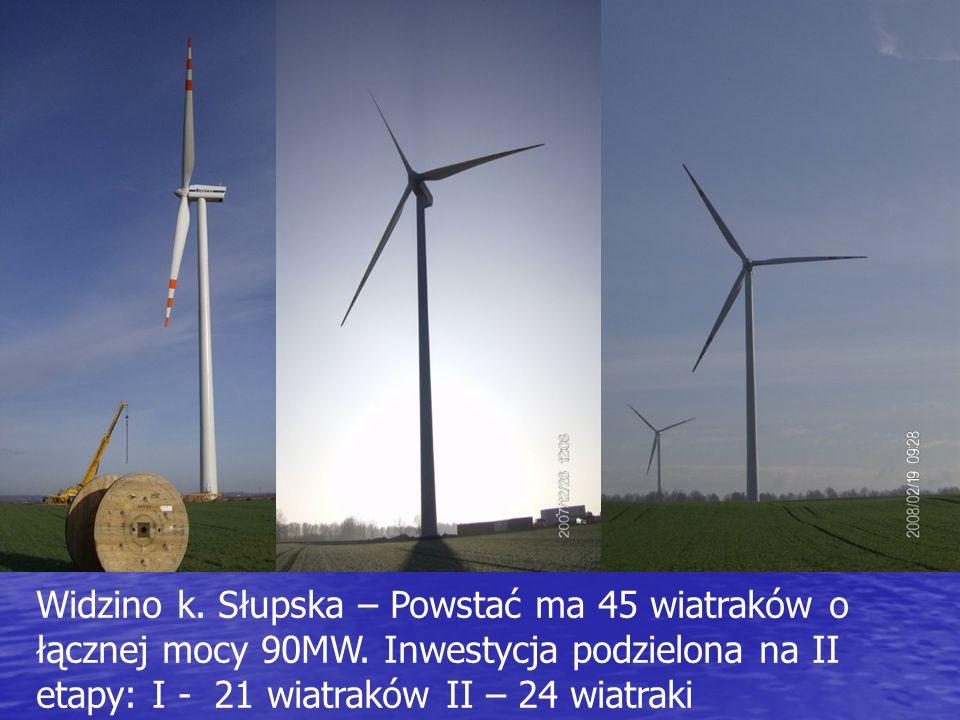 Widzino k. Słupska – Powstać ma 45 wiatraków o łącznej mocy 90MW. Inwestycja podzielona na II etapy: I - 21 wiatraków II – 24 wiatraki