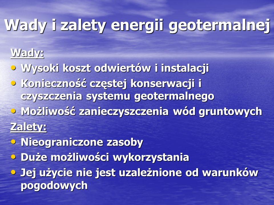 Wady i zalety energii geotermalnej Wady: Wysoki koszt odwiertów i instalacji Wysoki koszt odwiertów i instalacji Konieczność częstej konserwacji i czy