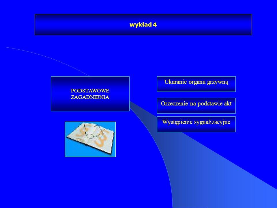 wykład 4 PODSTAWOWE ZAGADNIENIA Ukaranie organu grzywną Orzeczenie na podstawie akt Wystąpienie sygnalizacyjne