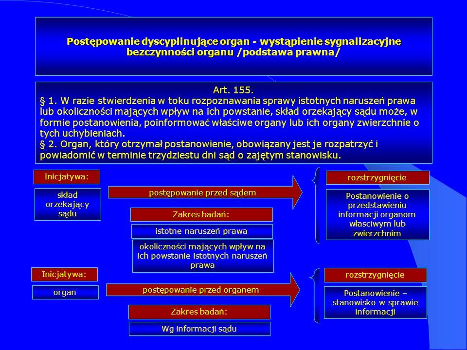 Postępowanie dyscyplinujące organ - wystąpienie sygnalizacyjne bezczynności organu Postępowanie dyscyplinujące organ - wystąpienie sygnalizacyjne bezc