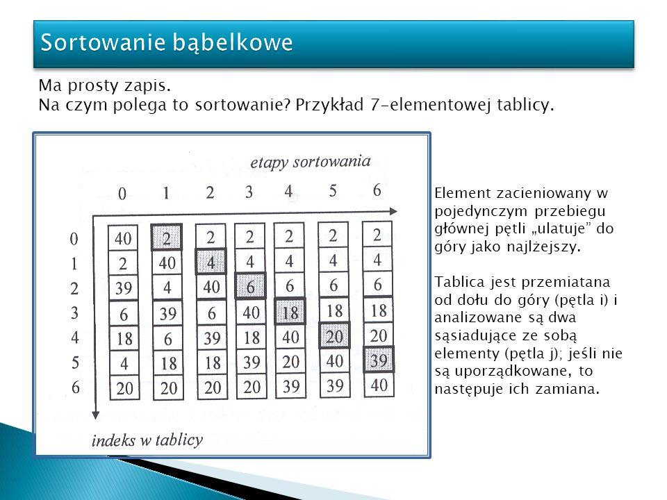 Ma prosty zapis. Na czym polega to sortowanie? Przykład 7-elementowej tablicy. Element zacieniowany w pojedynczym przebiegu głównej pętli ulatuje do g
