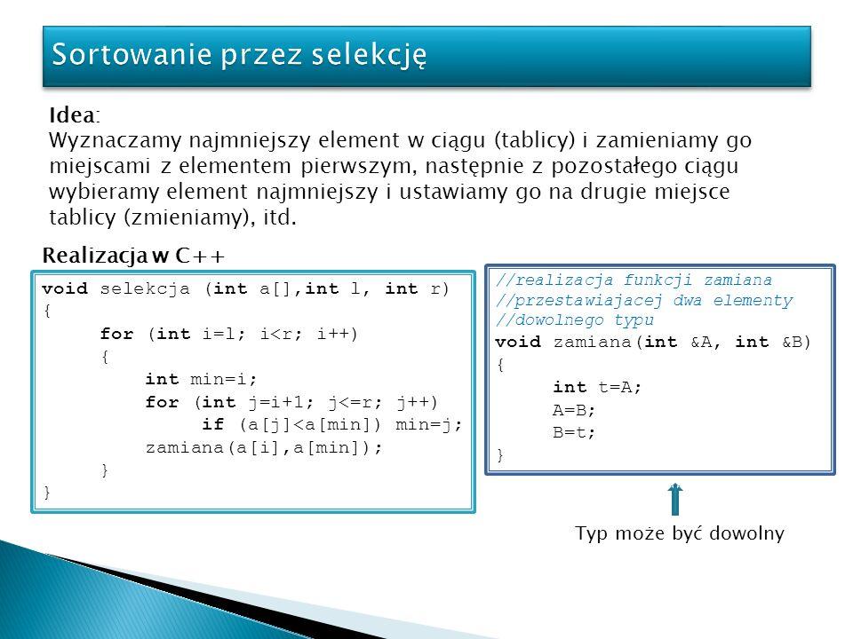 Realizacja w C++ void quicksort (int *tab, int l, int r) { if(r<=l) return; //1-instrukcja int i=partition(tab, l, r); //2-instrukcja quicksort(tab, l, i-1); //3-instrukcja quicksort(tab, i+1, r); //4-instrukcja } Właściwe sortowanie Dowód poprawności: Własność: Dla dowolnej liczności n=r-l sortowanej tablicy algorytm jest semantycznie poprawny.