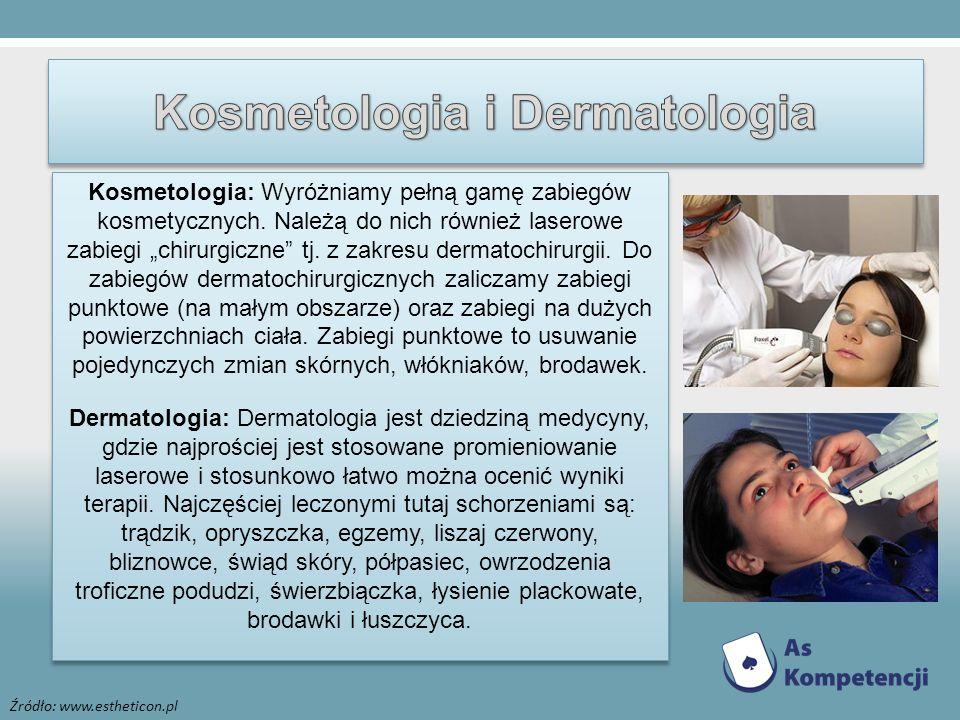Źródło: www.estheticon.pl Kosmetologia: Wyróżniamy pełną gamę zabiegów kosmetycznych. Należą do nich również laserowe zabiegi chirurgiczne tj. z zakre