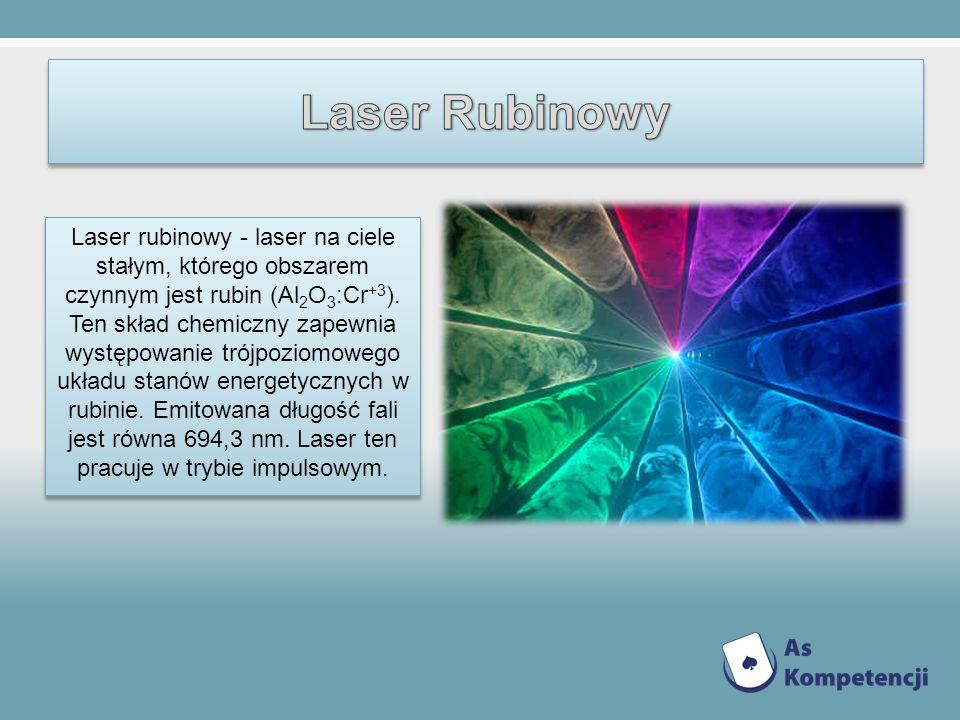 Laser rubinowy - laser na ciele stałym, którego obszarem czynnym jest rubin (Al 2 O 3 :Cr +3 ). Ten skład chemiczny zapewnia występowanie trójpoziomow
